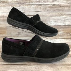 Abeo Cinda Black Suede Slip On Loafers.